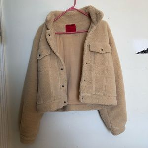 Sherpa cropped trucker jacket